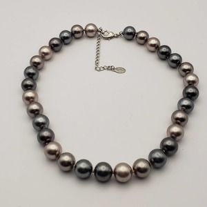 Cookie Lee Gray Pink Glass Faux Pearl Necklace
